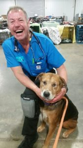 Dr. Jay Tischendorf in blue scrubs with a rescued dog
