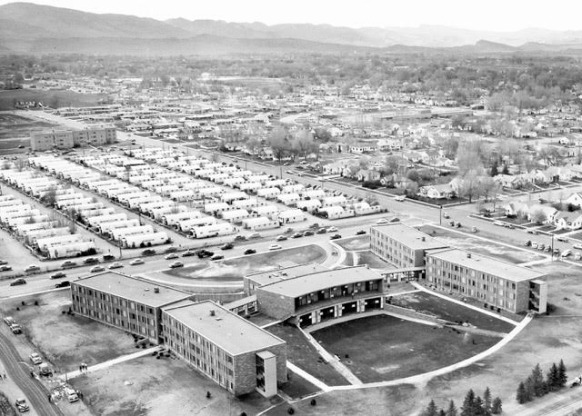 Black and white aerial photo of CSU campus, circa 1948