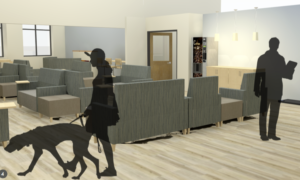 a color rendering of part of the new lobby at the veterinary teaching hospital