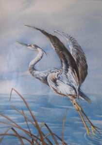 painting of a blue heron
