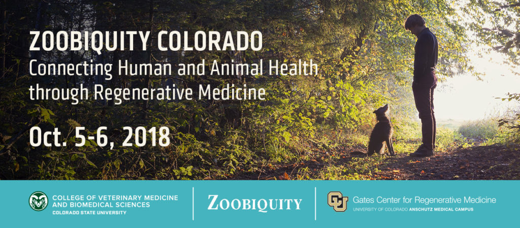 Zoobiquity Colorado poster with image of a dog ;looking up at a man standing on a path