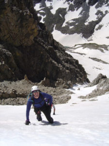 Associate professor of Biomedical Sciences Adam Chicco mountaineering in Colorado