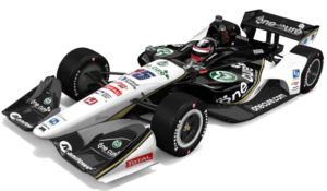 Green and white CSU One Cure Indy Car