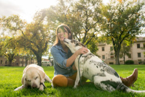Lily Edwards-Callaway and her dogs, Zeus and Raylan