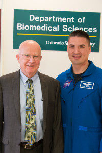 Colorado State University Biomedical Sciences professor C.W. Miller welcomes NASA astronaut and Colorado State University alumnus Kjell Lindgren to campus, April 17, 2014.