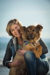 woman with a handsome dog