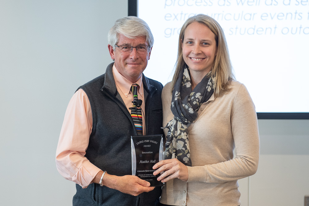 Heather Hall is presented with the Innovation Living Our Values award by Dean Mark Stetter