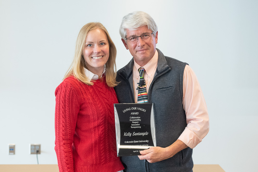 Dean Stetter (right) presents Kelly Santangelo (left) with the Living Our Values award.
