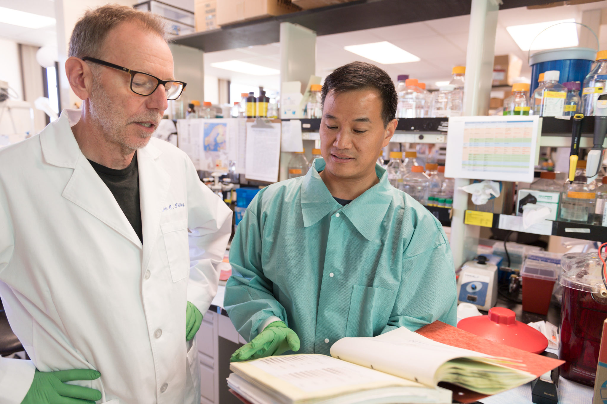 Professor Glenn Telling and research assistant Jifeng Bian in the lab at CSU