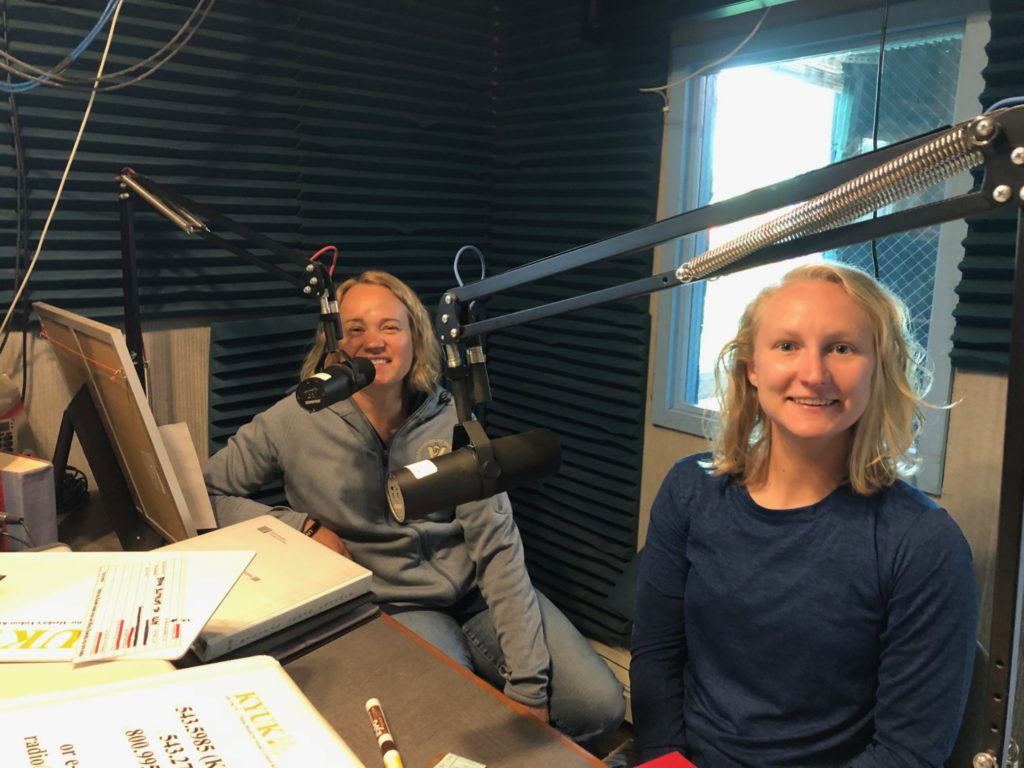 Laurie and Jessica at a radio station