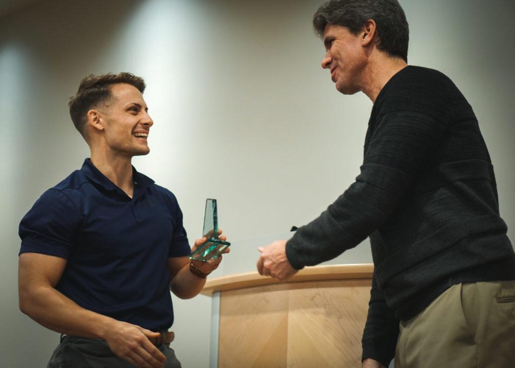 Chase Gross receiving award