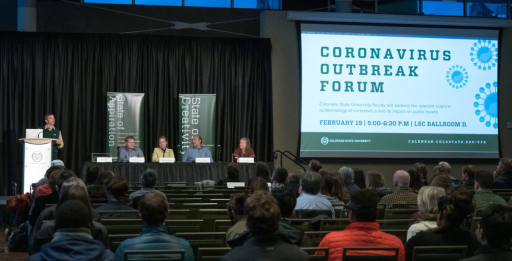 coronavirus panel discussion in CSU ballroom