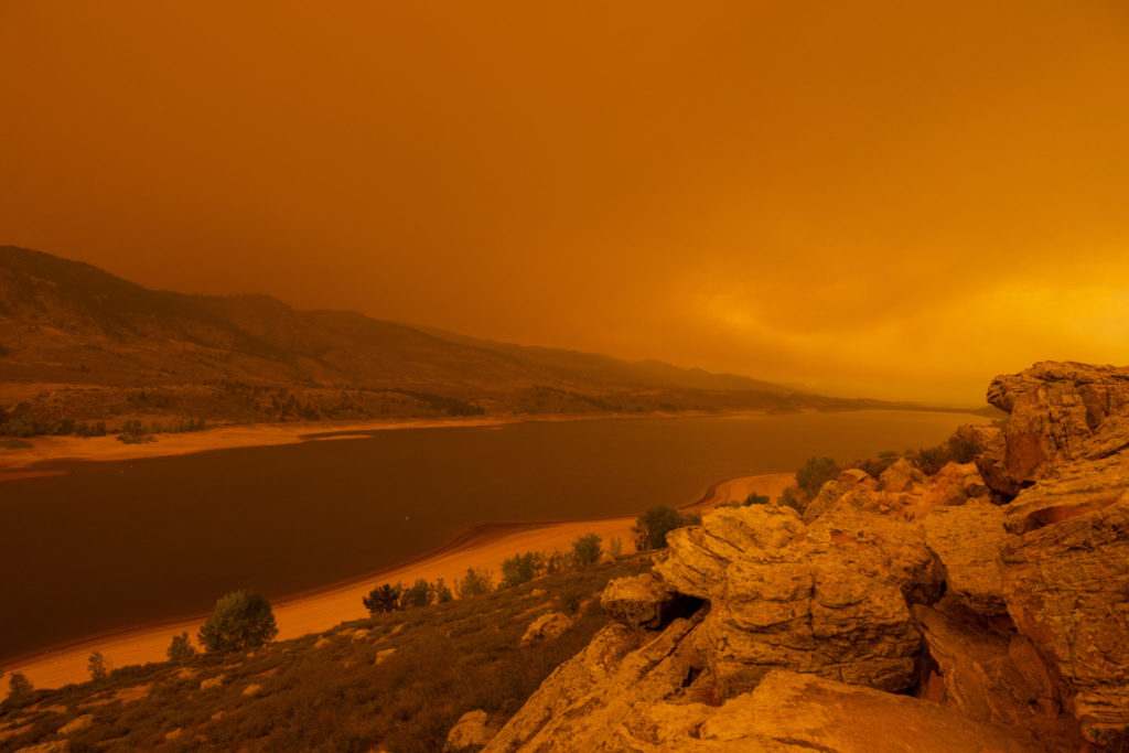 wildfire smoke over Horsetooth Reservoir
