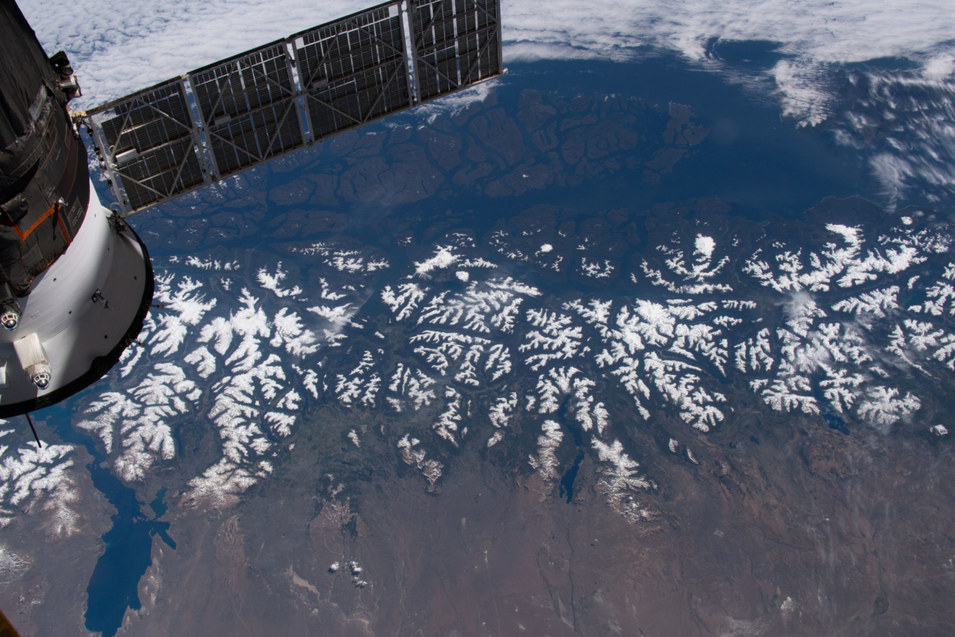 snow-capped peaks of the Andes Mountains, seen from the International Space Station