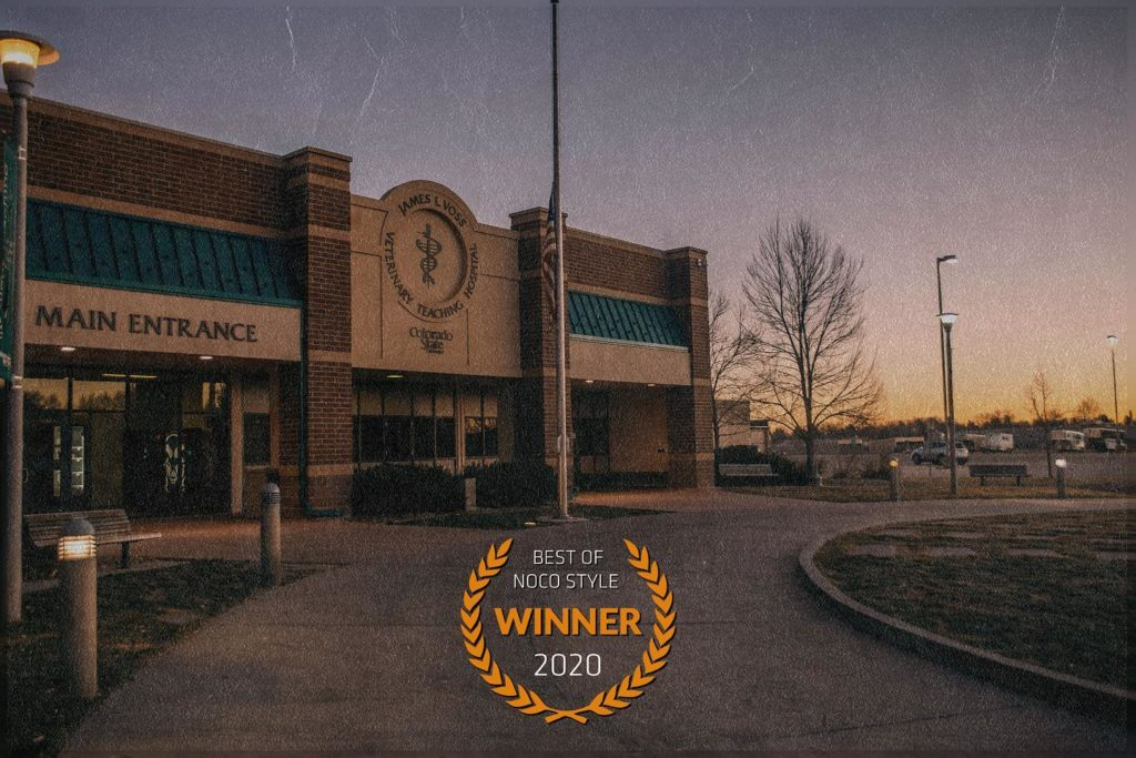 """hospital exterior with """"winner"""" badge"""