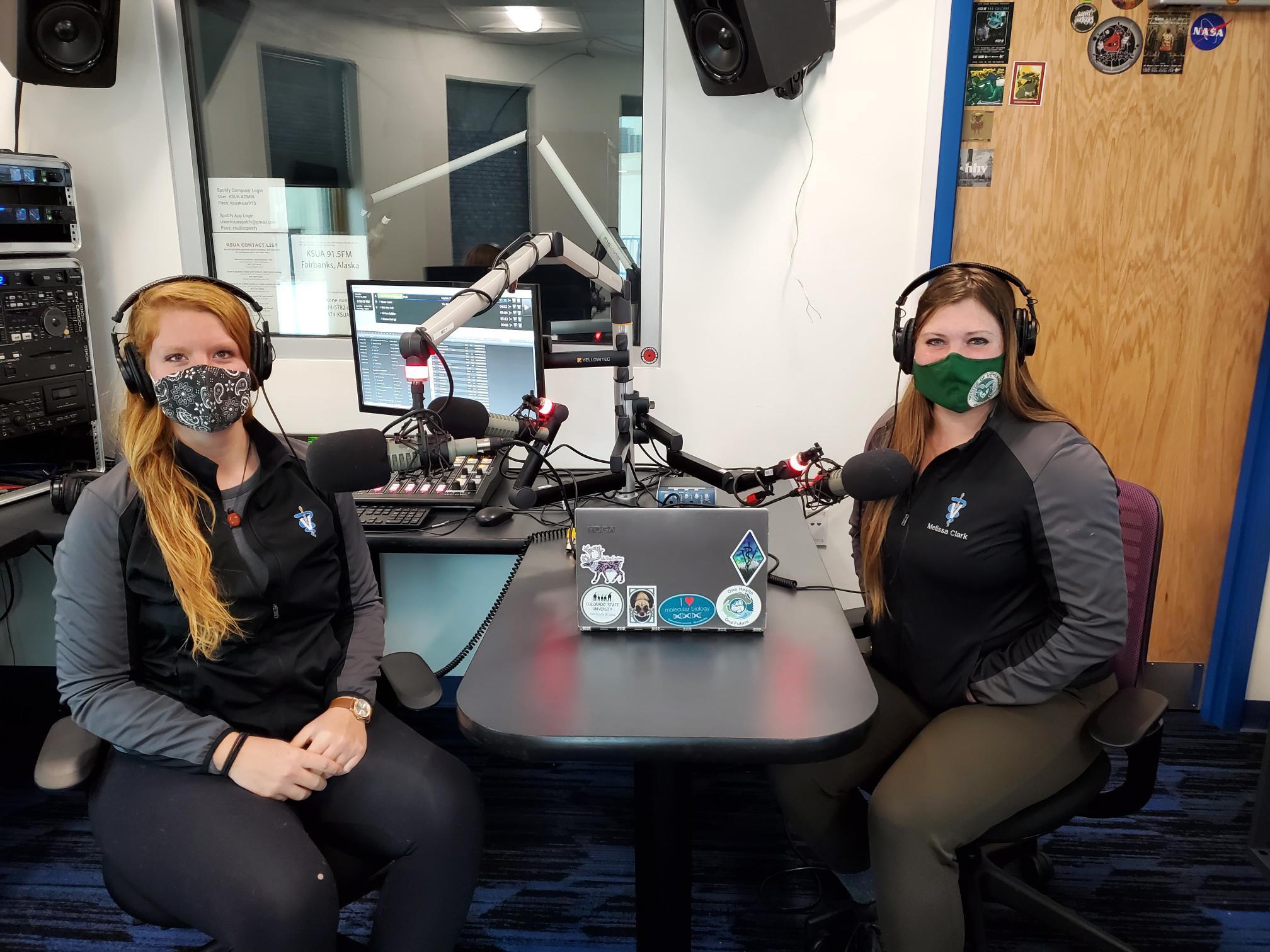 two students in radio station recording studio