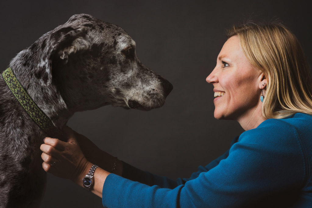 Dr. Audrey Ruple with a big dog