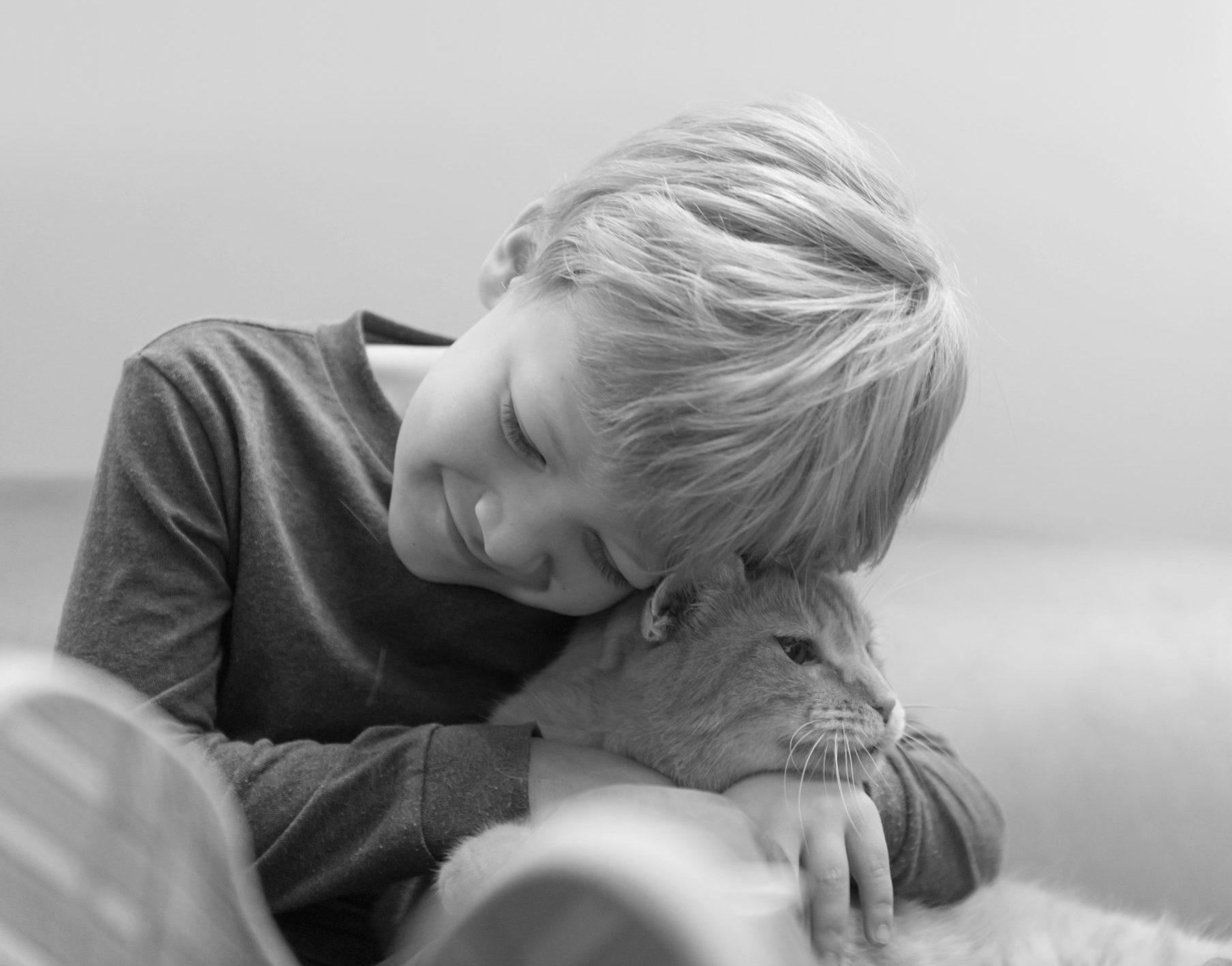 boy holding cat